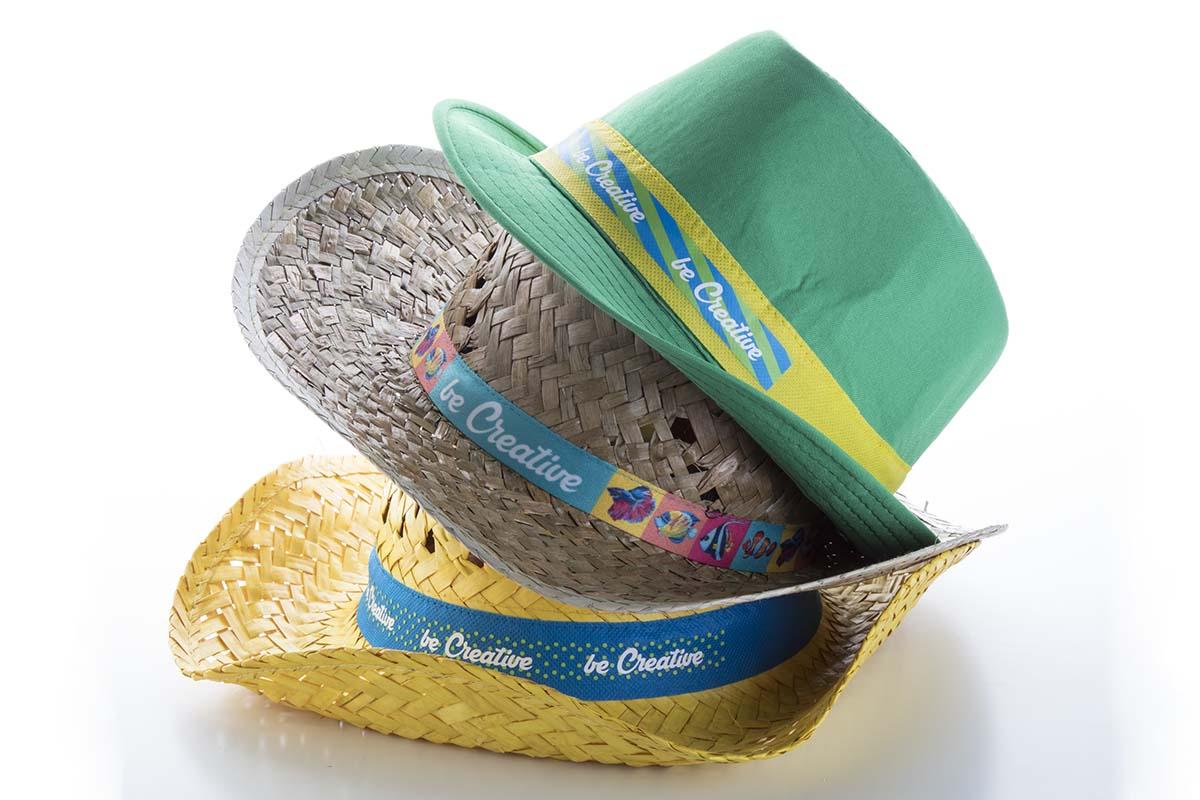 chapeau publicitaire de paille en polyester avec bandeau en sublimation cousu